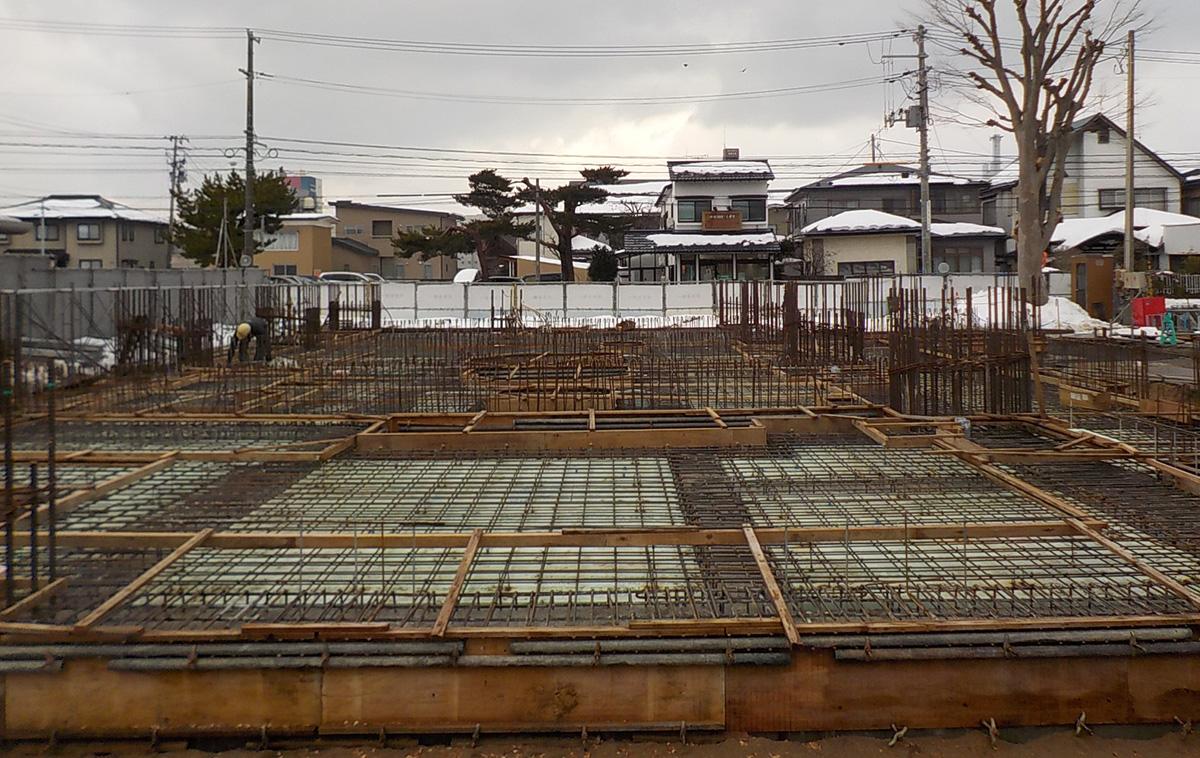 ザ・マークス南通 新築分譲マンション施工レポート 1階スラブ配筋完了状況