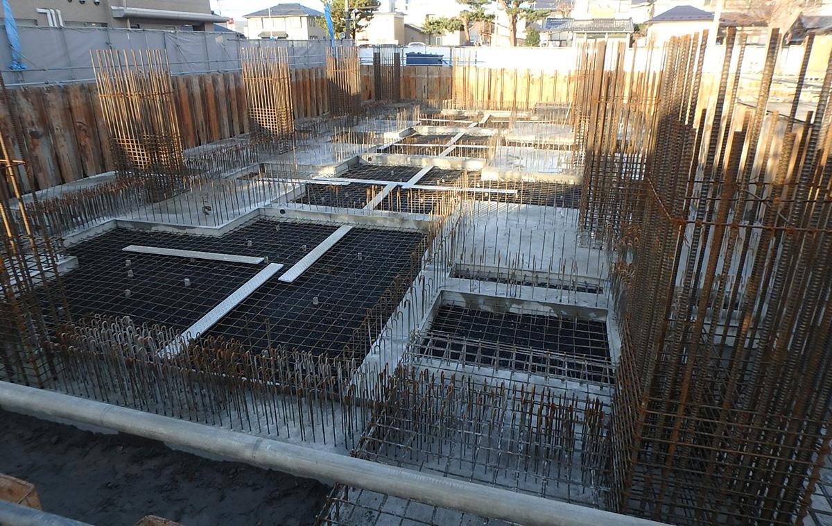 ザ・マークス南通 新築分譲マンション施工レポート 配管ピット土間配筋完了