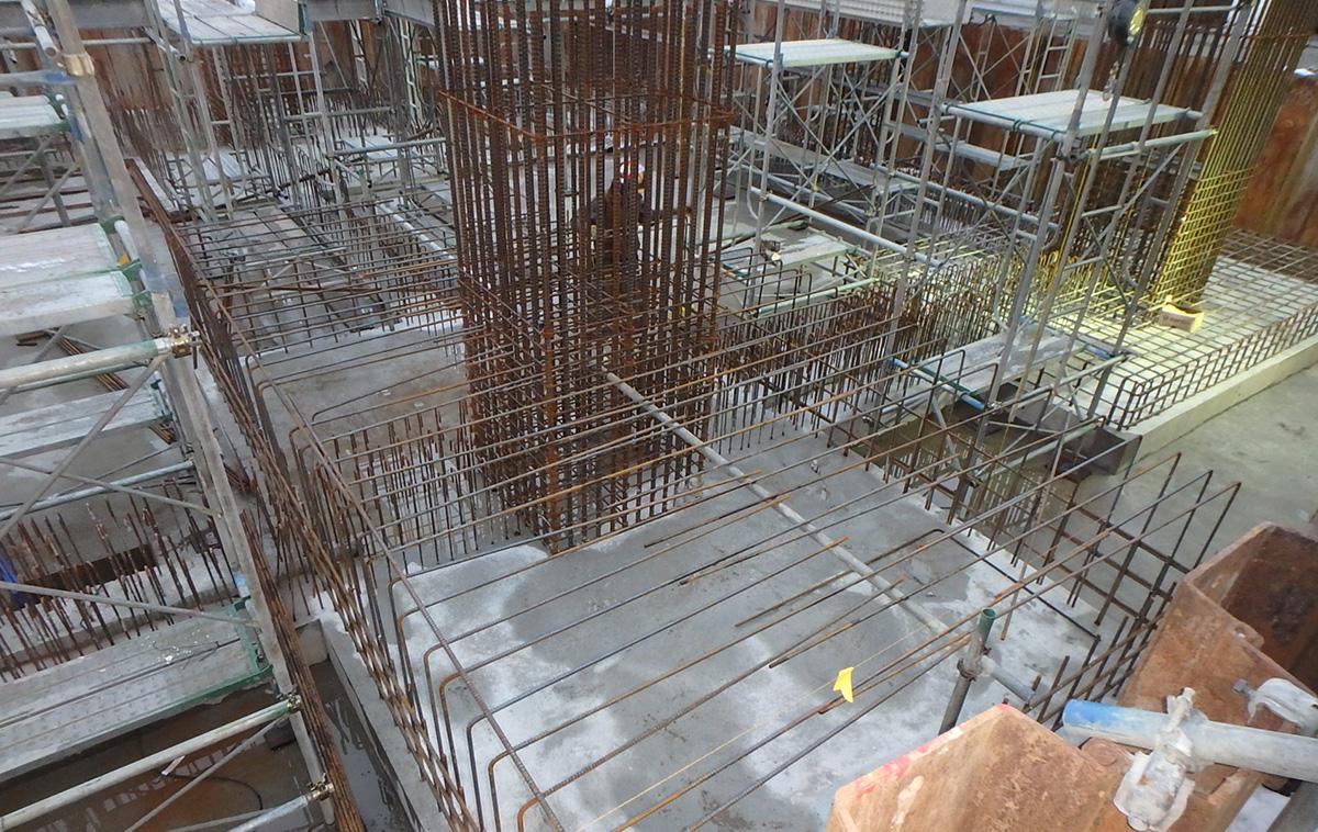 ザ・マークス南通 新築分譲マンション施工レポート 基礎配筋状況