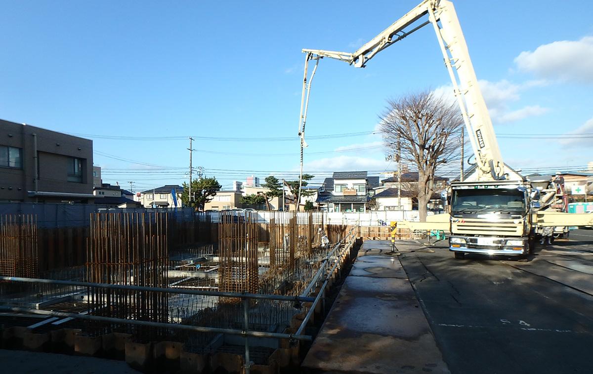 ザ・マークス南通 新築分譲マンション施工レポート 配管ピット土間コンクリート打設状況