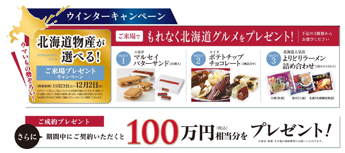 ウィンターキャンペーン 北海道物産が選べる!ご来場プレゼントキャンペーン(11月23日~12月2日)