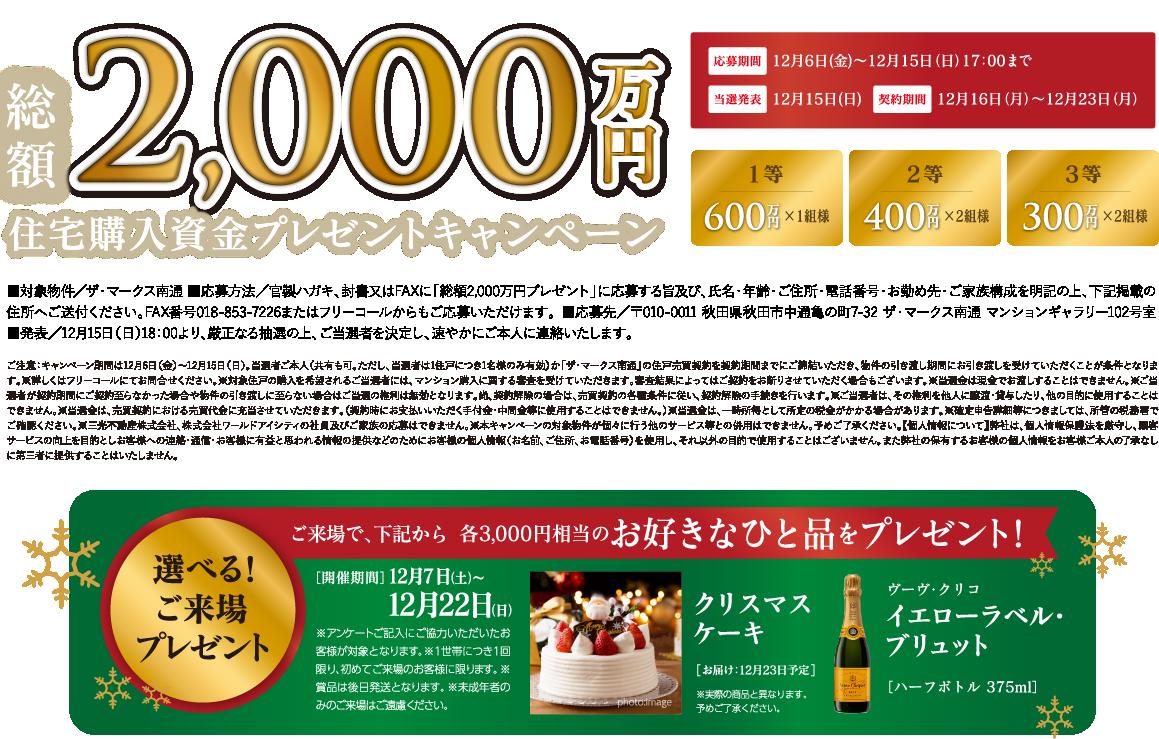 総額2,000万円 住宅購入資金プレゼントキャンペーン 応募期間12月6日(金)〜12月15日(日)17:00まで