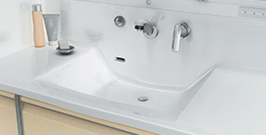 洗面ボウルと天板一体型洗面台