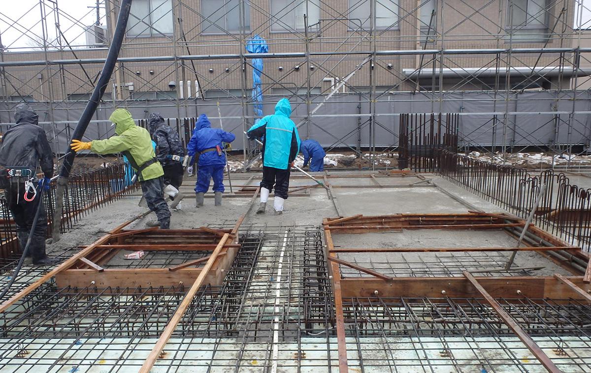 ザ・マークス南通 新築分譲マンション施工レポート 1階床コンクリート打設