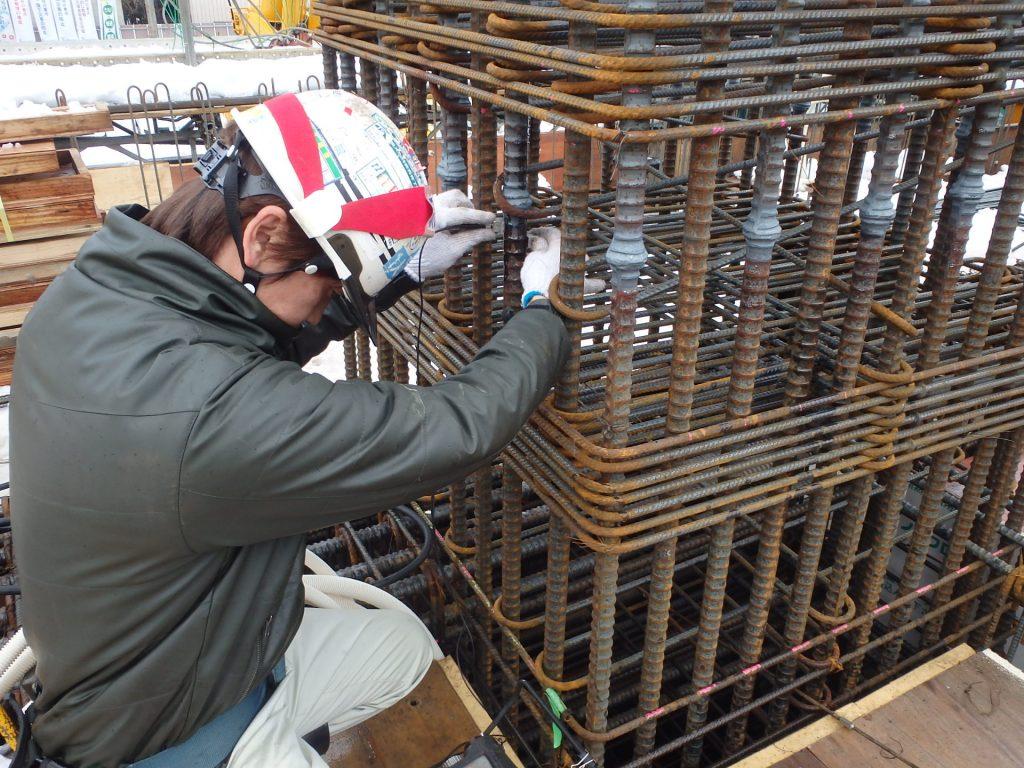 ザ・マークス南通 新築分譲マンション施工レポート 2階柱超音波探傷検査